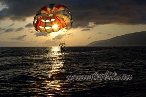 пейзаж, закат, парашютист, фото